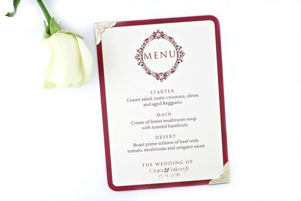 Marsala Wedding Menu  Love Storey Weddings