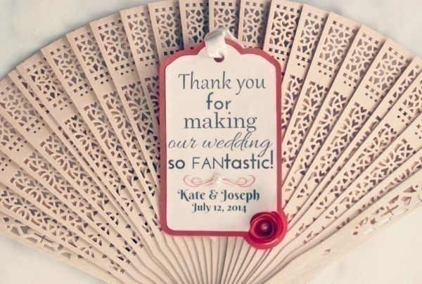 wedding fans with gift tags