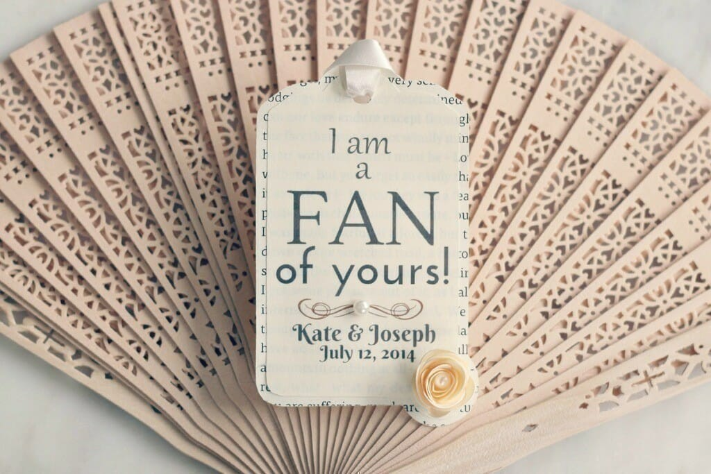 wedding fans with gift tags love storey weddings