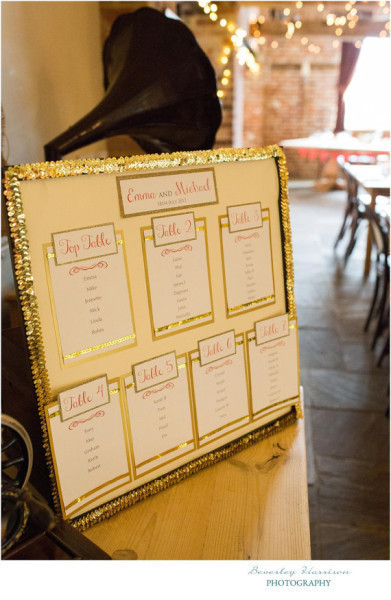 Customer Wedding Table Plan - Gold Glitter Table Plan