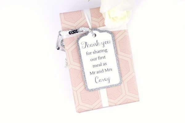 silver glitter gift tags