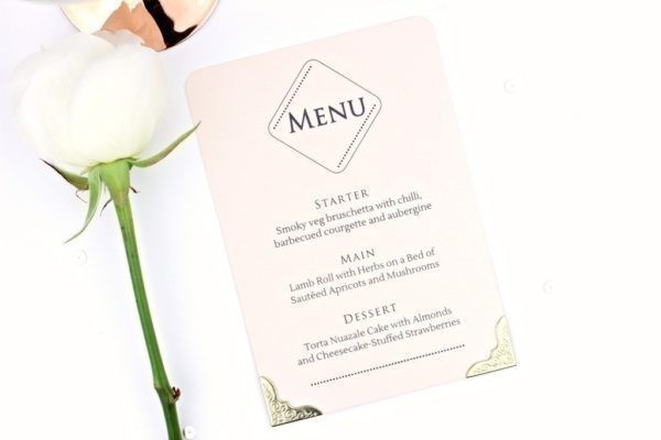 rose quartz wedding menu