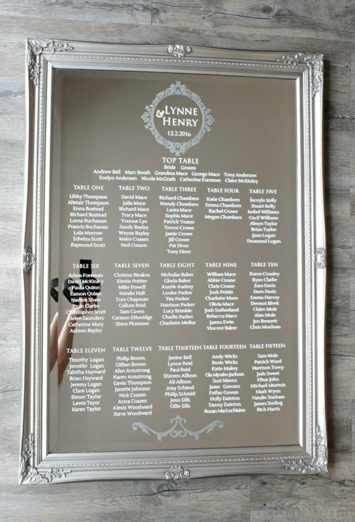 Wedding mirror table plan glass table chart love for Table design names