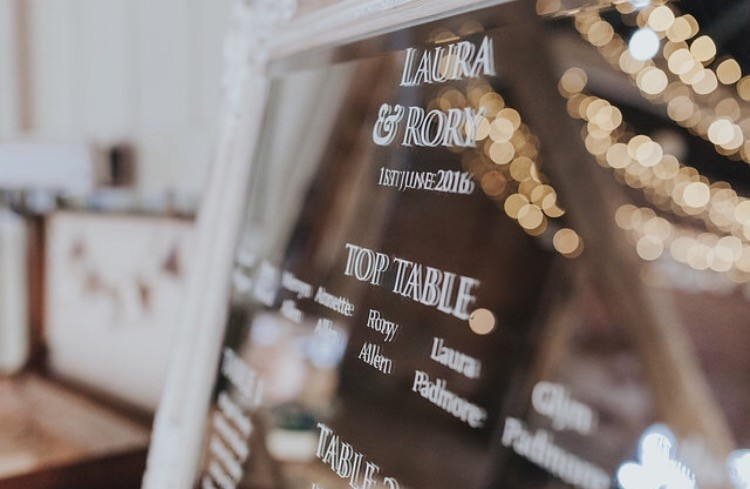 Mirror Table Plan Design Wedding Vinyl Seating Charts