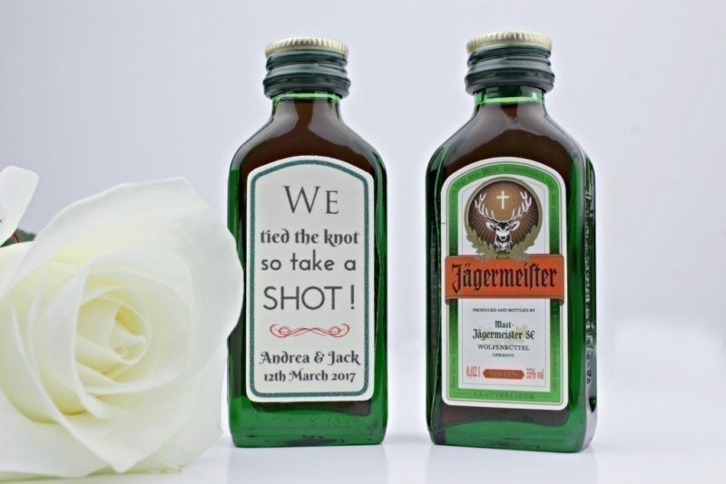 Custom wedding shot bottle sticky labels