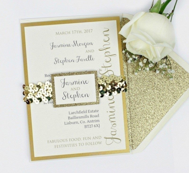 Luxe Gold Glitter Wedding Invitation