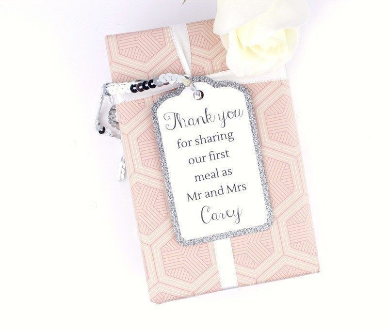 Argento silver glitter gift tags