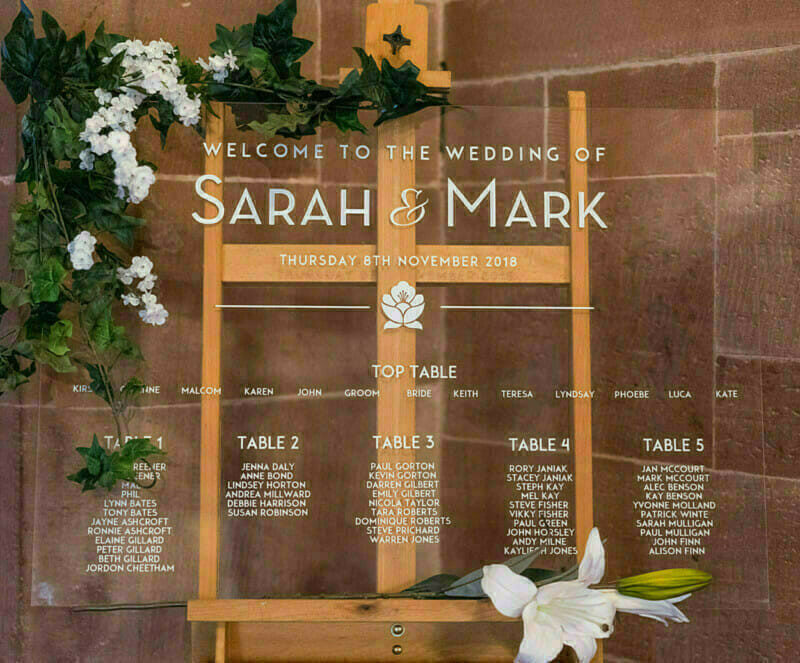 Acrylic Wedding Table Plan • Seating Chart • Perspex® finished with Bespoke Vinyl Lettering • UK Design • Worldwide Shipping